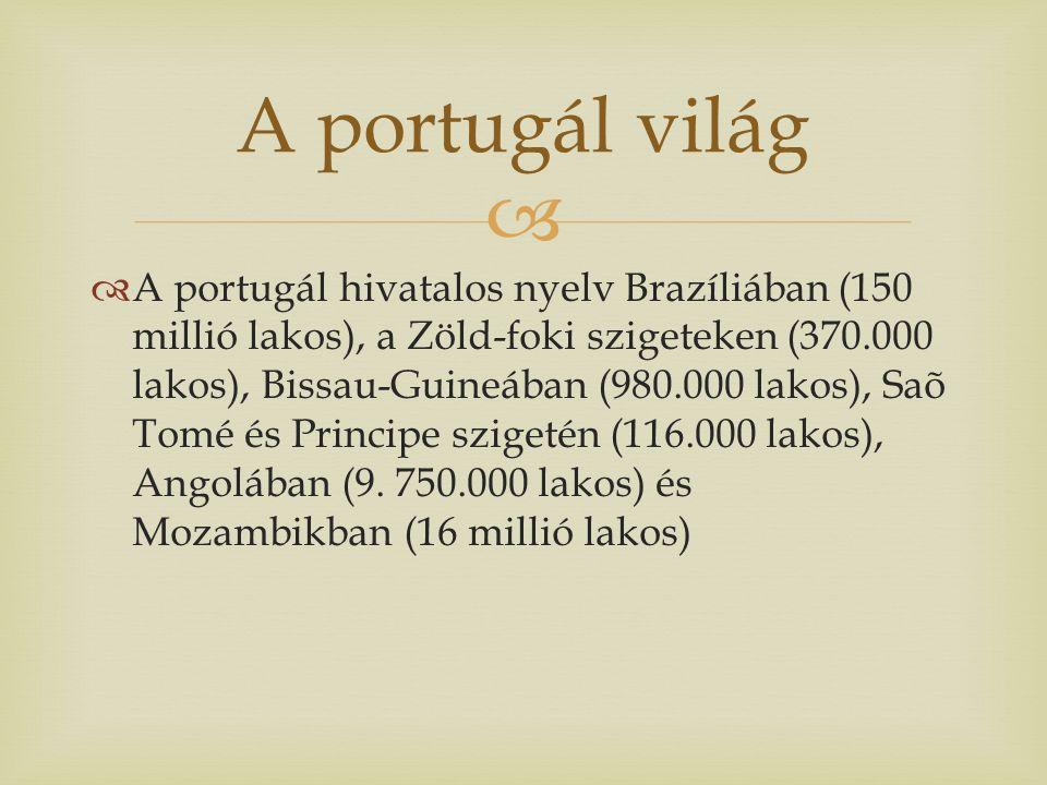   A portugál hivatalos nyelv Brazíliában (150 millió lakos), a Zöld-foki szigeteken (370.000 lakos), Bissau-Guineában (980.000 lakos), Saõ Tomé és Principe szigetén (116.000 lakos), Angolában (9.