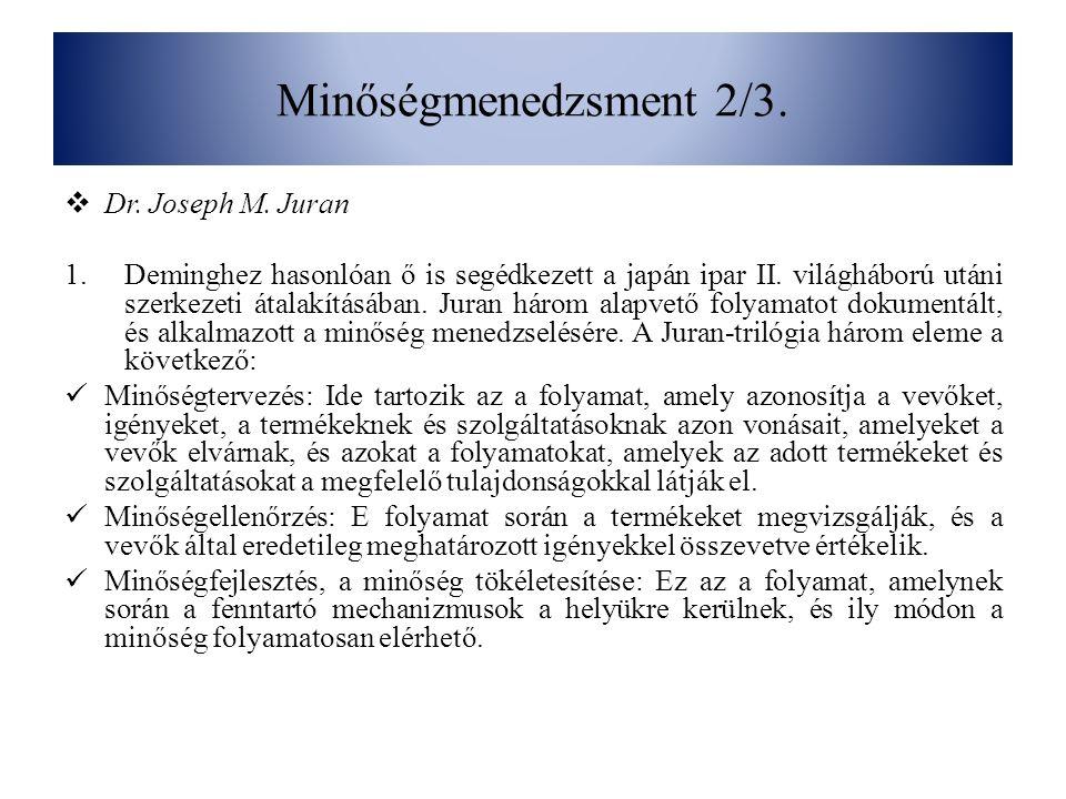 Minőségmenedzsment 2/3. Dr. Joseph M.