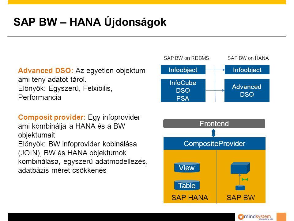SAP BW – HANA Újdonságok Advanced DSO: Az egyetlen objektum ami tény adatot tárol.