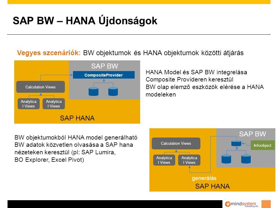 SAP BW – HANA Újdonságok Vegyes szcenáriók: BW objektumok és HANA objektumok közötti átjárás HANA Model és SAP BW integrelása Composite Provideren keresztül BW olap elemző eszközök elérése a HANA modeleken BW objektumokból HANA model generálható BW adatok közvetlen olvasása a SAP hana nézeteken keresztül (pl: SAP Lumira, BO Explorer, Excel Pivot) SAP HANA Analytica l Views Calculation Views Analytica l Views SAP BW CompositeProvider SAP HANA Analytica l Views Calculation Views Analytica l Views SAP BW generálás Infoobject