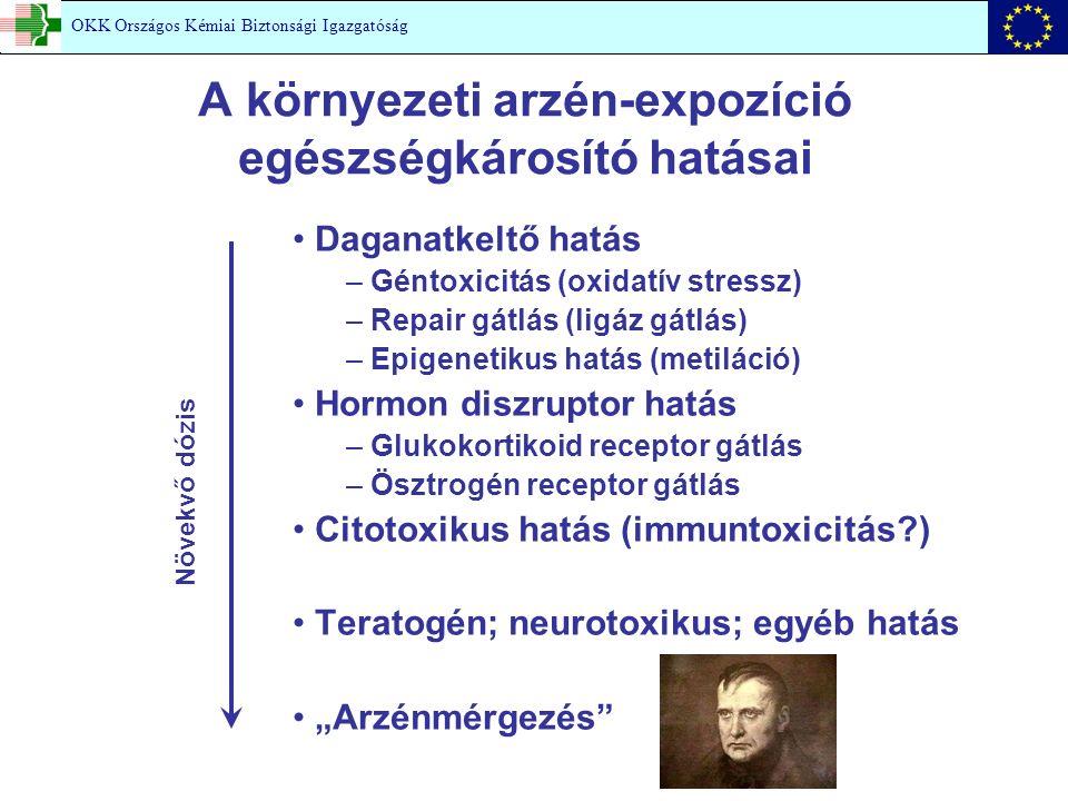 """A környezeti arzén-expozíció egészségkárosító hatásai Daganatkeltő hatás – Géntoxicitás (oxidatív stressz) – Repair gátlás (ligáz gátlás) – Epigenetikus hatás (metiláció) Hormon diszruptor hatás – Glukokortikoid receptor gátlás – Ösztrogén receptor gátlás Citotoxikus hatás (immuntoxicitás?) Teratogén; neurotoxikus; egyéb hatás """"Arzénmérgezés Növekvő dózis OKK Országos Kémiai Biztonsági Igazgatóság"""