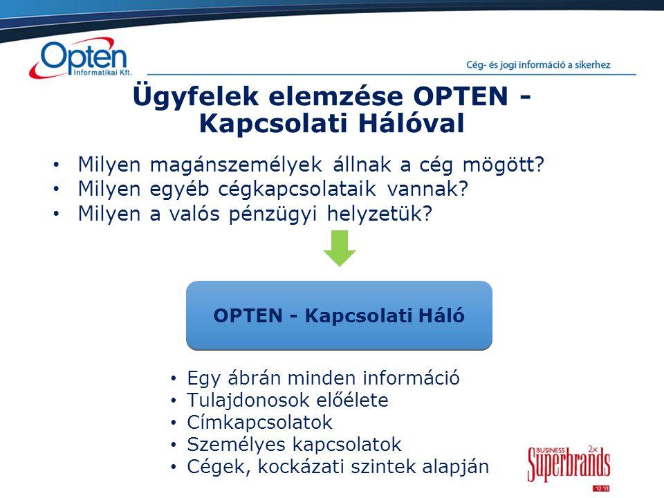 Ügyfelek elemzése OPTEN - Kapcsolati Hálóval Egy ábrán minden információ Tulajdonosok előélete Címkapcsolatok Személyes kapcsolatok Cégek, kockázati szintek alapján OPTEN - Kapcsolati Háló Milyen magánszemélyek állnak a cég mögött.