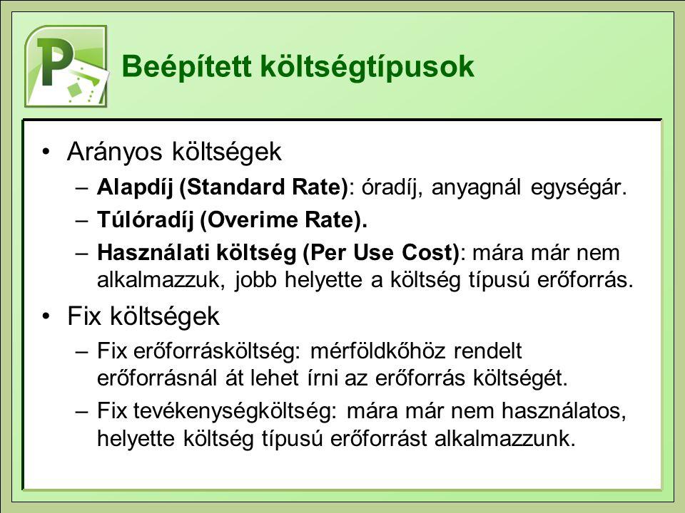 Beépített költségtípusok Arányos költségek –Alapdíj (Standard Rate): óradíj, anyagnál egységár.