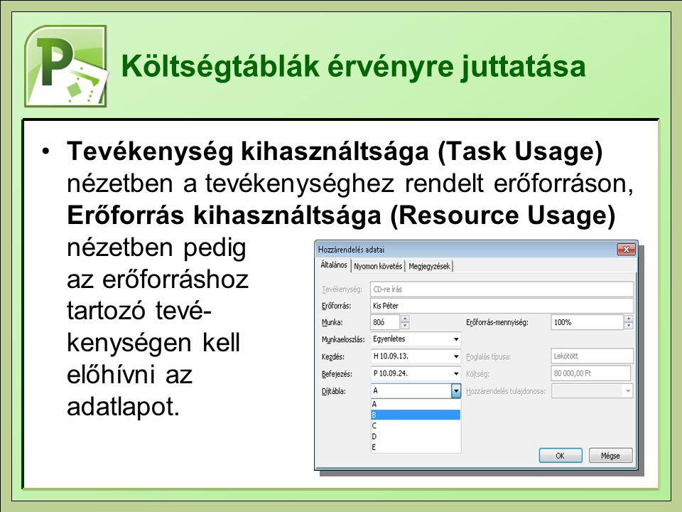 Költségtáblák érvényre juttatása Tevékenység kihasználtsága (Task Usage) nézetben a tevékenységhez rendelt erőforráson, Erőforrás kihasználtsága (Resource Usage) nézetben pedig az erőforráshoz tartozó tevé- kenységen kell előhívni az adatlapot.