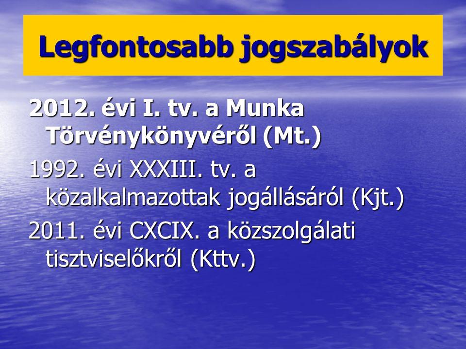 2012. évi I. tv. a Munka Törvénykönyvéről (Mt.) 1992. évi XXXIII. tv. a közalkalmazottak jogállásáról (Kjt.) 2011. évi CXCIX. a közszolgálati tisztvis