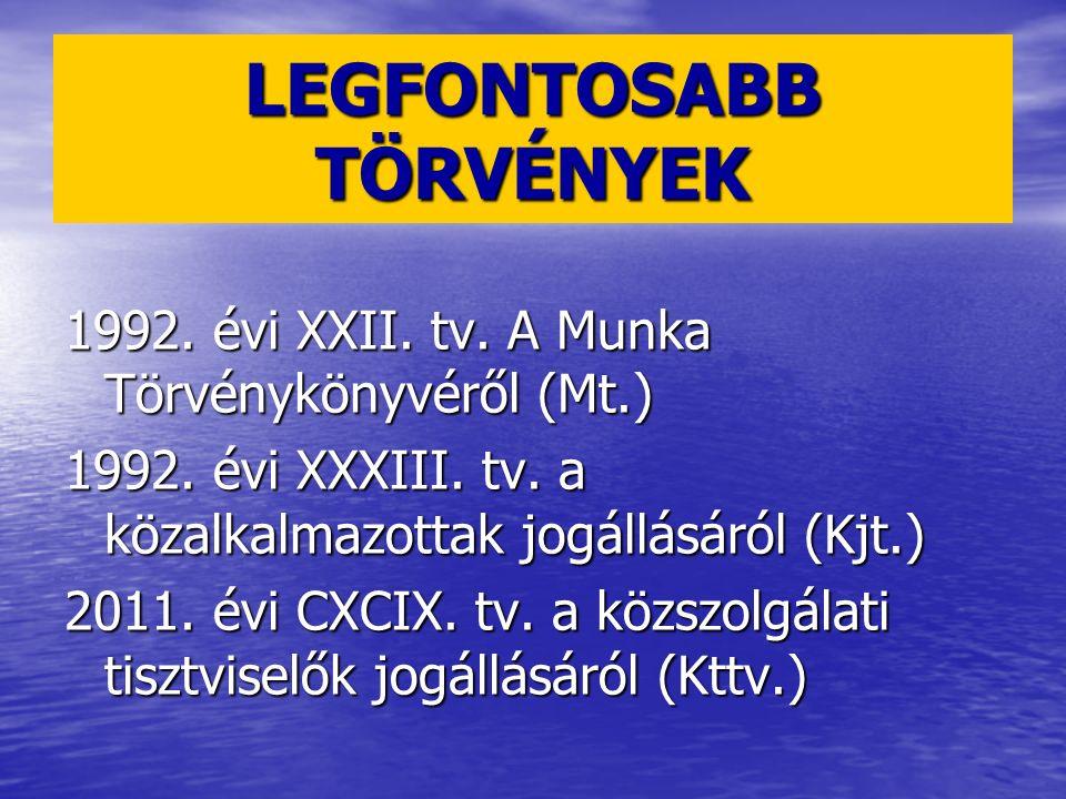 1992. évi XXII. tv. A Munka Törvénykönyvéről (Mt.) 1992. évi XXXIII. tv. a közalkalmazottak jogállásáról (Kjt.) 2011. évi CXCIX. tv. a közszolgálati t