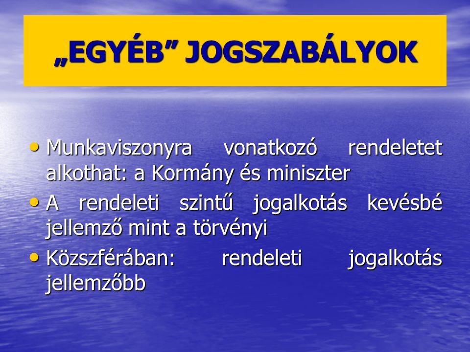 """""""EGYÉB"""" JOGSZABÁLYOK Munkaviszonyra vonatkozó rendeletet alkothat: a Kormány és miniszter Munkaviszonyra vonatkozó rendeletet alkothat: a Kormány és m"""