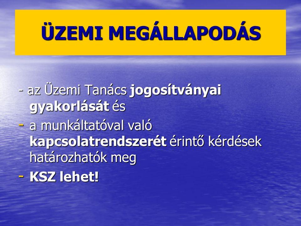 ÜZEMI MEGÁLLAPODÁS - az Üzemi Tanács jogosítványai gyakorlását és - a munkáltatóval való kapcsolatrendszerét érintő kérdések határozhatók meg - KSZ le