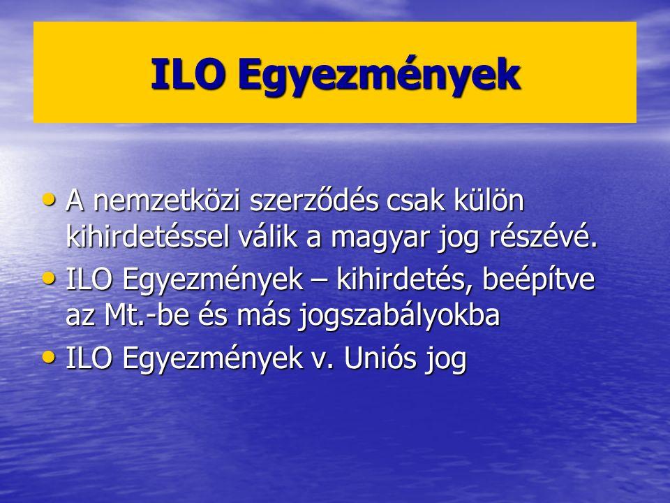 ILO Egyezmények A nemzetközi szerződés csak külön kihirdetéssel válik a magyar jog részévé. A nemzetközi szerződés csak külön kihirdetéssel válik a ma