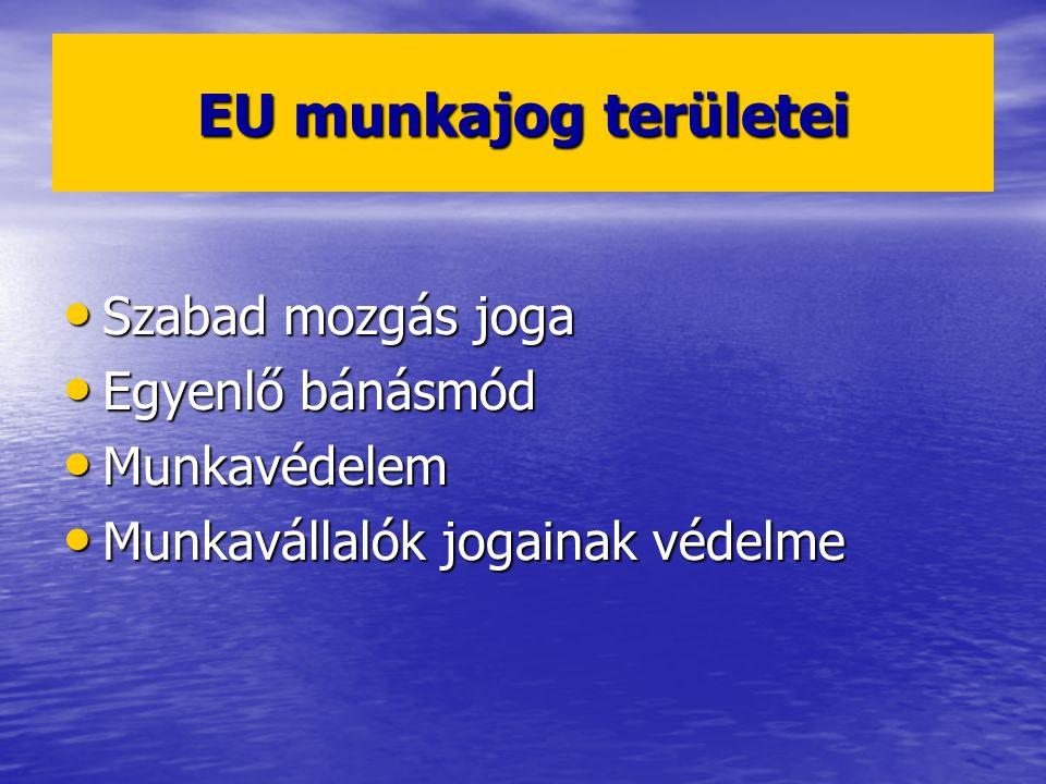 EU munkajog területei Szabad mozgás joga Szabad mozgás joga Egyenlő bánásmód Egyenlő bánásmód Munkavédelem Munkavédelem Munkavállalók jogainak védelme