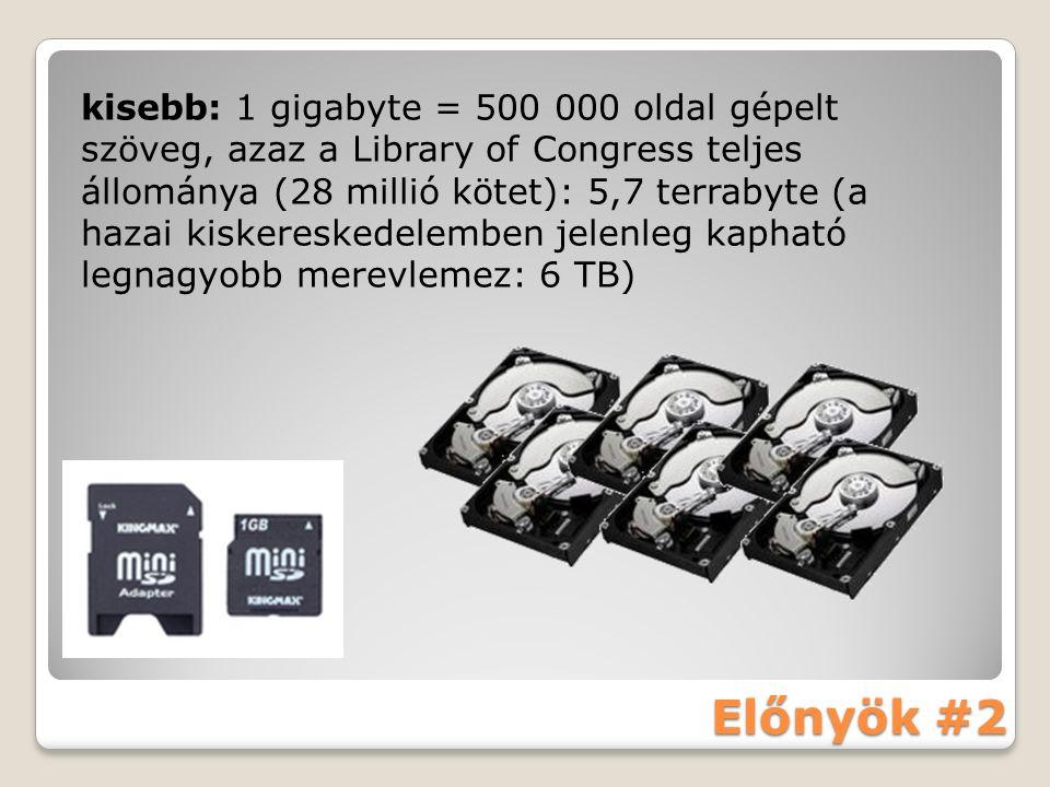Előnyök #2 kisebb: 1 gigabyte = 500 000 oldal gépelt szöveg, azaz a Library of Congress teljes állománya (28 millió kötet): 5,7 terrabyte (a hazai kiskereskedelemben jelenleg kapható legnagyobb merevlemez: 6 TB)