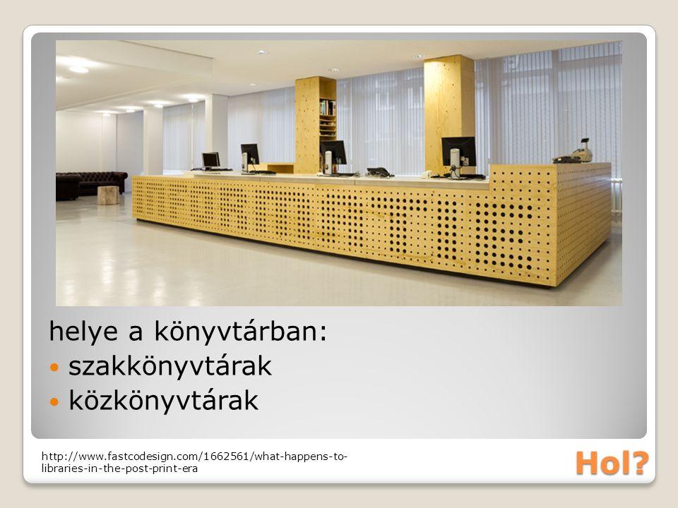 Hol? helye a könyvtárban: szakkönyvtárak közkönyvtárak http://www.fastcodesign.com/1662561/what-happens-to- libraries-in-the-post-print-era