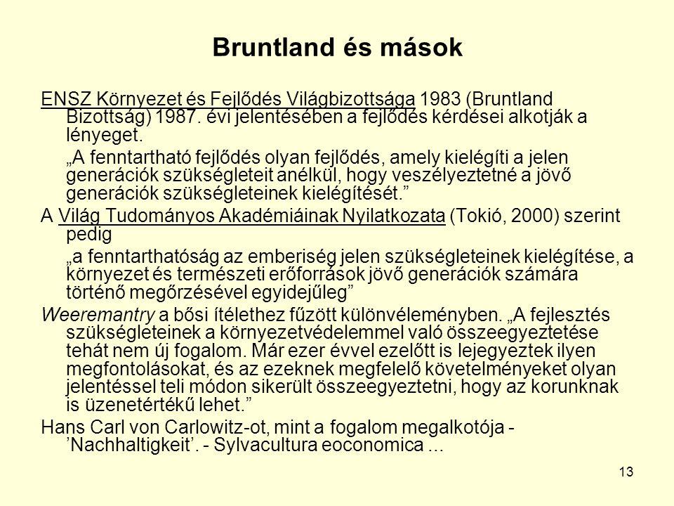13 Bruntland és mások ENSZ Környezet és Fejlődés Világbizottsága 1983 (Bruntland Bizottság) 1987.