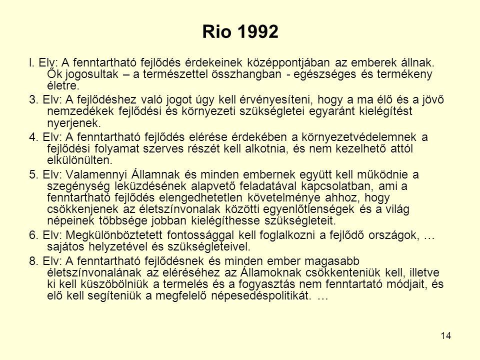 14 Rio 1992 l. Elv: A fenntartható fejlődés érdekeinek középpontjában az emberek állnak.