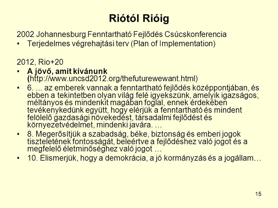 15 Riótól Rióig 2002 Johannesburg Fenntartható Fejlődés Csúcskonferencia Terjedelmes végrehajtási terv (Plan of Implementation) 2012, Rio+20 A jövő, amit kívánunk (http://www.uncsd2012.org/thefuturewewant.html) 6....