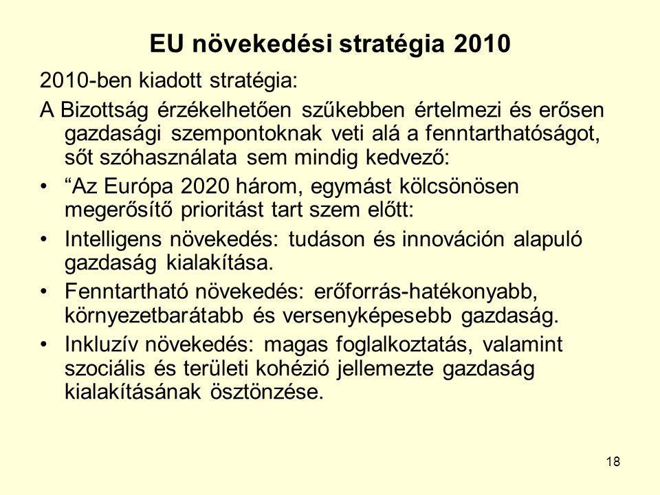 18 EU növekedési stratégia 2010 2010-ben kiadott stratégia: A Bizottság érzékelhetően szűkebben értelmezi és erősen gazdasági szempontoknak veti alá a fenntarthatóságot, sőt szóhasználata sem mindig kedvező: Az Európa 2020 három, egymást kölcsönösen megerősítő prioritást tart szem előtt: Intelligens növekedés: tudáson és innováción alapuló gazdaság kialakítása.