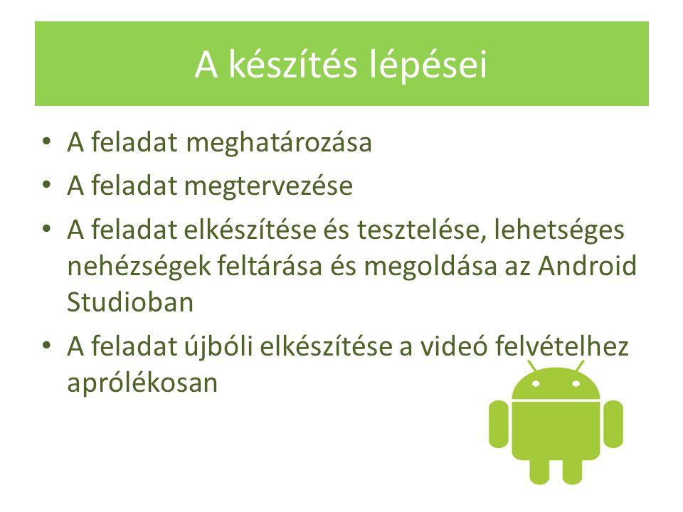 A készítés lépései A feladat meghatározása A feladat megtervezése A feladat elkészítése és tesztelése, lehetséges nehézségek feltárása és megoldása az Android Studioban A feladat újbóli elkészítése a videó felvételhez aprólékosan