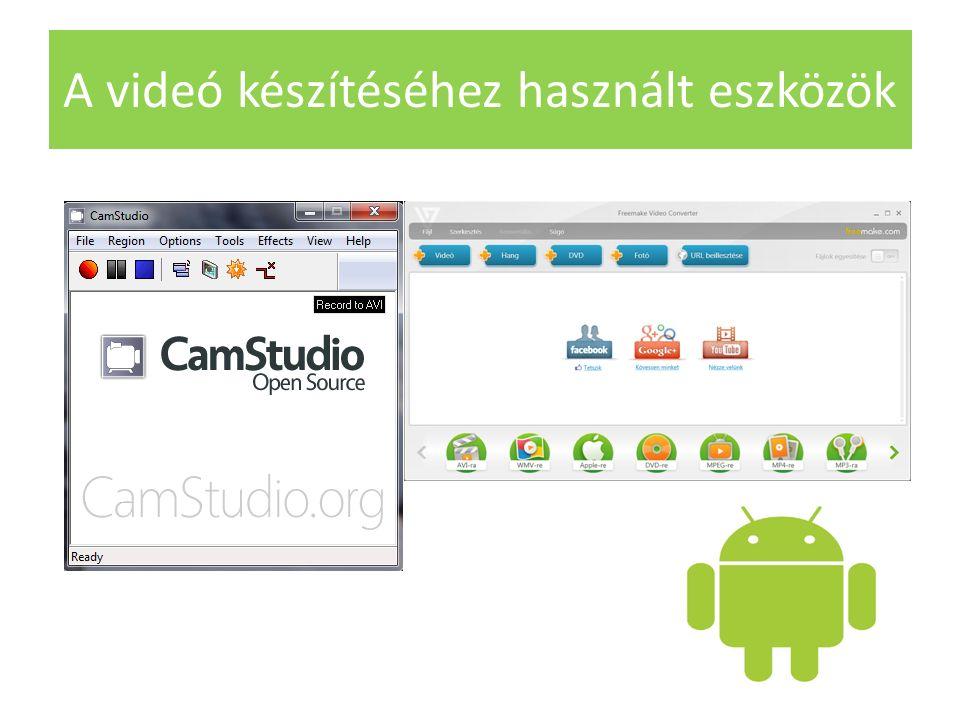 A videó készítéséhez használt eszközök