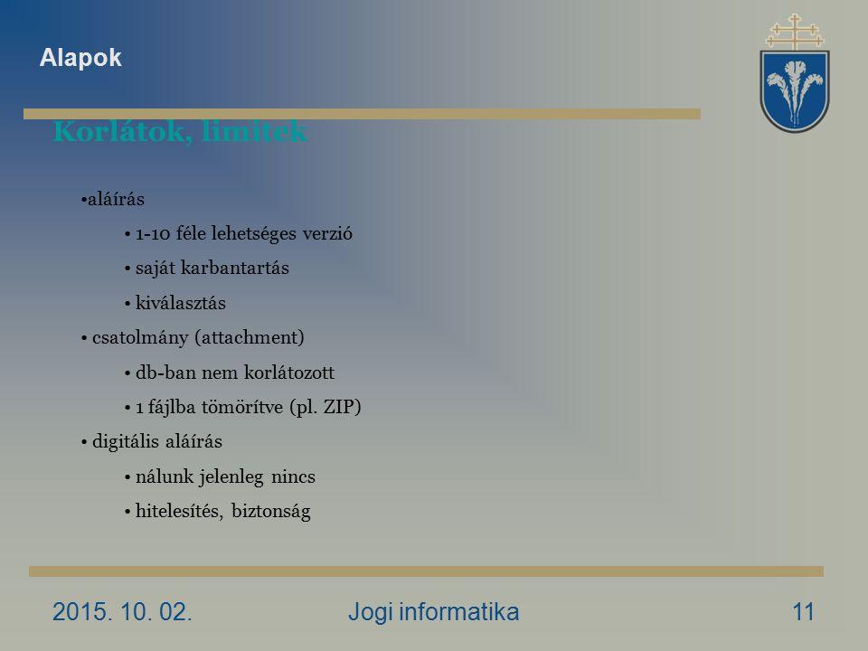 2015. 10. 02.Jogi informatika11 Korlátok, limitek aláírás 1-10 féle lehetséges verzió saját karbantartás kiválasztás csatolmány (attachment) db-ban ne