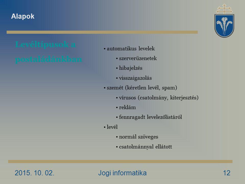2015. 10. 02.Jogi informatika12 Levéltípusok a postaládánkban automatikus levelek szerverüzenetek hibajelzés visszaigazolás szemét (kéretlen levél, sp