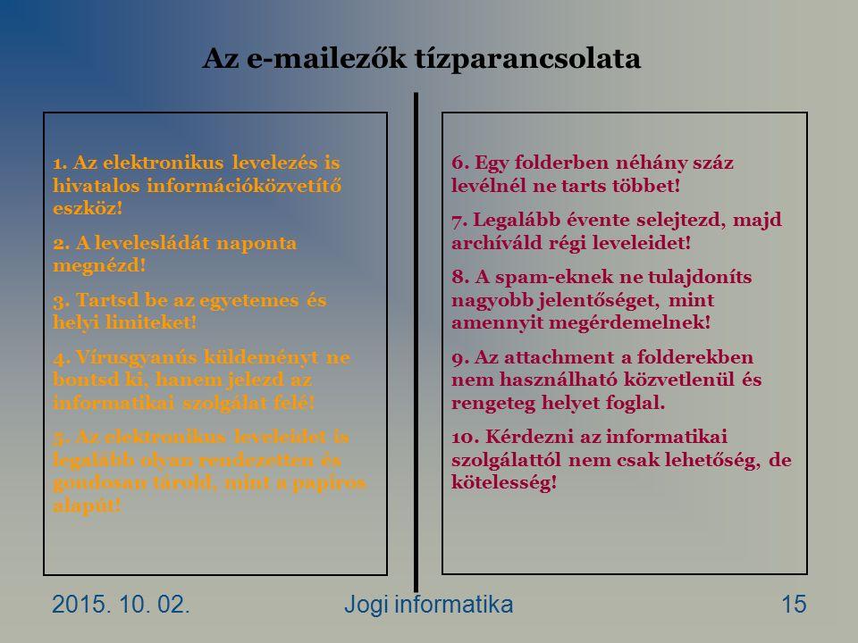 2015. 10. 02.Jogi informatika15 Az e-mailezők tízparancsolata 1.