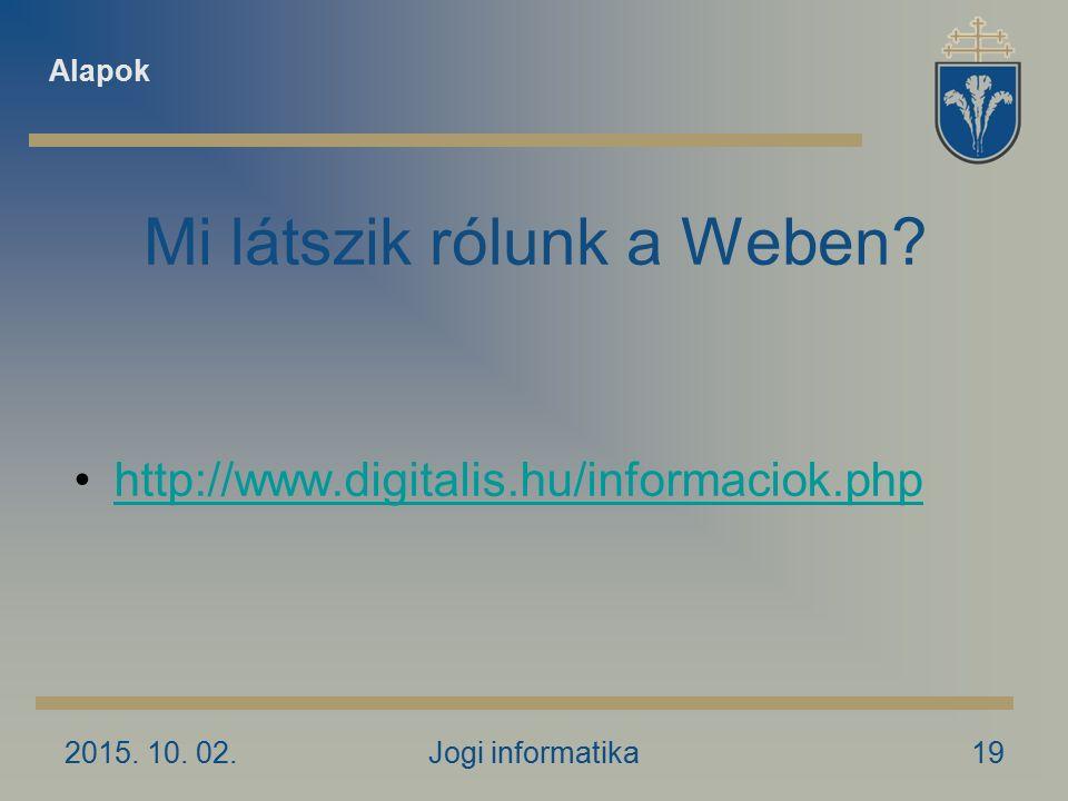 2015. 10. 02.Jogi informatika19 Mi látszik rólunk a Weben.