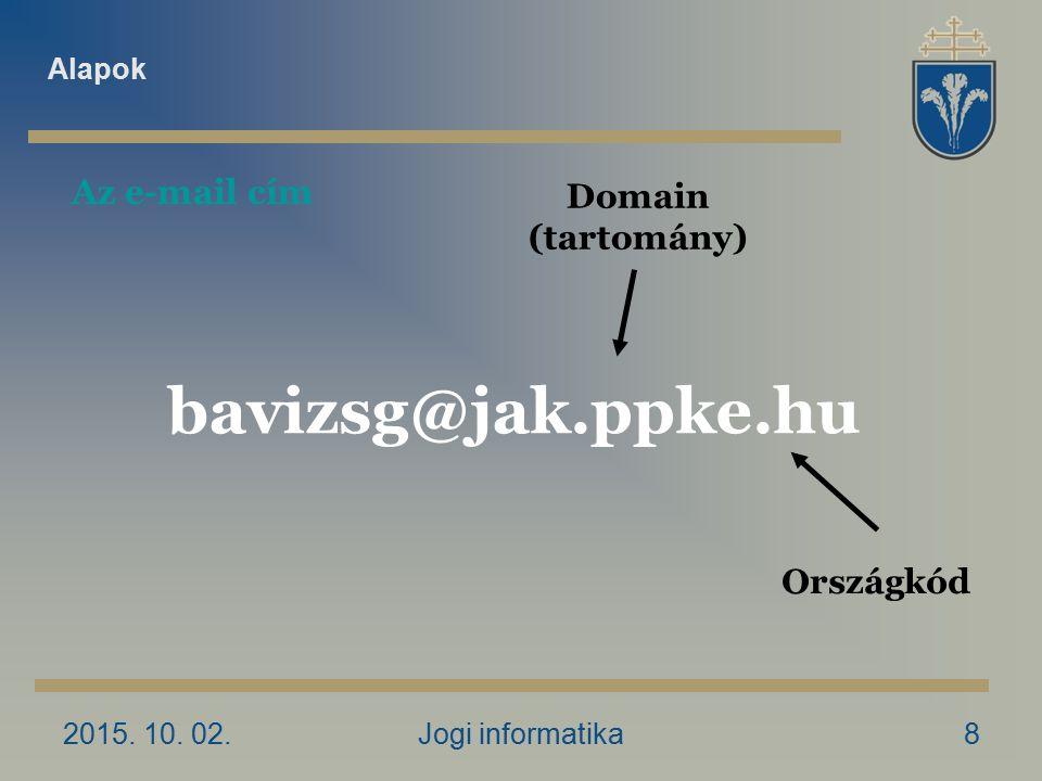 2015. 10. 02.Jogi informatika8 Domain (tartomány) bavizsg@jak.ppke.hu Országkód Az e-mail cím Alapok
