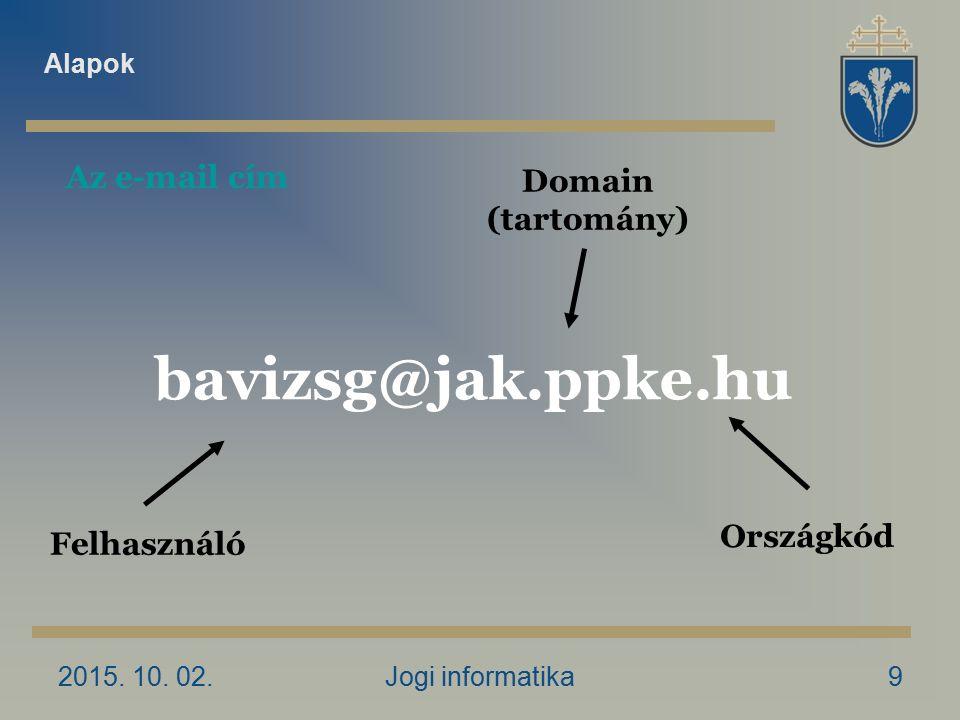 2015. 10. 02.Jogi informatika9 Felhasználó Domain (tartomány) bavizsg@jak.ppke.hu Országkód Az e-mail cím Alapok
