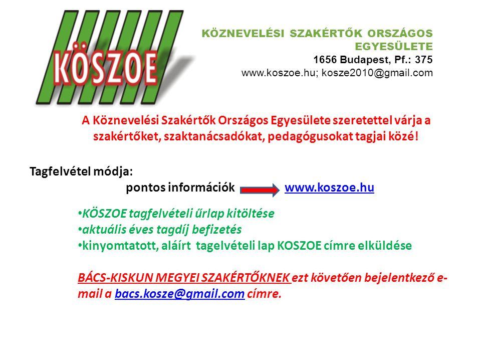 KÖZNEVELÉSI SZAKÉRTŐK ORSZÁGOS EGYESÜLETE 1656 Budapest, Pf.: 375 www.koszoe.hu; kosze2010@gmail.com Köznevelési Szakértők Országos Egyesülete Bács-Kiskun megyei tagozata által rendezett Keceli Konferencia nem jött volna létre a támogatók nélkül.