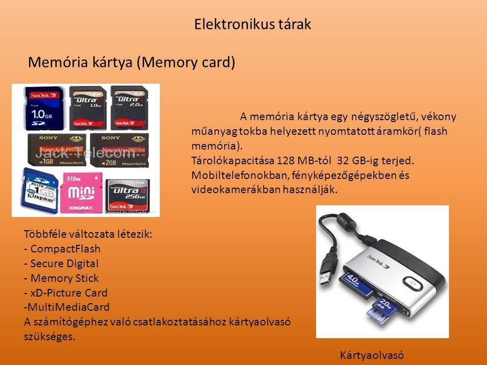 Elektronikus tárak Memória kártya (Memory card) Kártyaolvasó A memória kártya egy négyszögletű, vékony műanyag tokba helyezett nyomtatott áramkör( fla