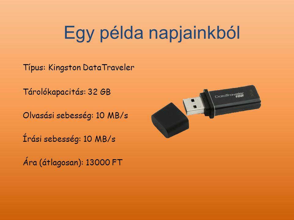 Típus: Kingston DataTraveler Tárolókapacitás: 32 GB Olvasási sebesség: 10 MB/s Írási sebesség: 10 MB/s Ára (átlagosan): 13000 FT Egy példa napjainkból