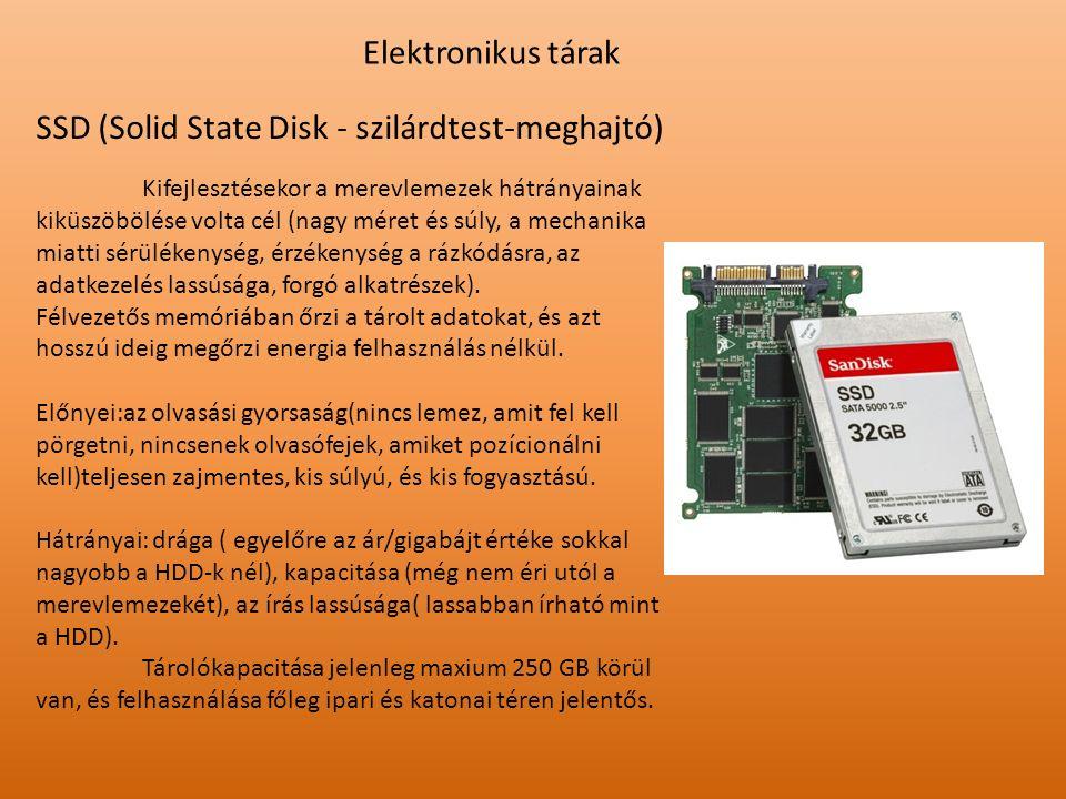 Elektronikus tárak SSD (Solid State Disk - szilárdtest-meghajtó) Kifejlesztésekor a merevlemezek hátrányainak kiküszöbölése volta cél (nagy méret és s