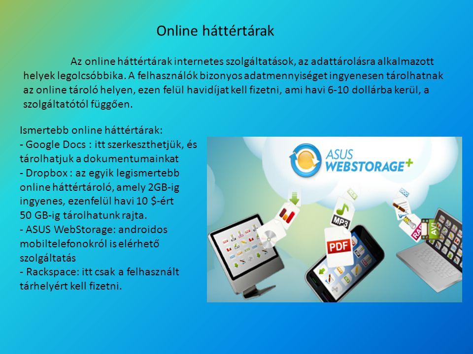Online háttértárak Az online háttértárak internetes szolgáltatások, az adattárolásra alkalmazott helyek legolcsóbbika. A felhasználók bizonyos adatmen