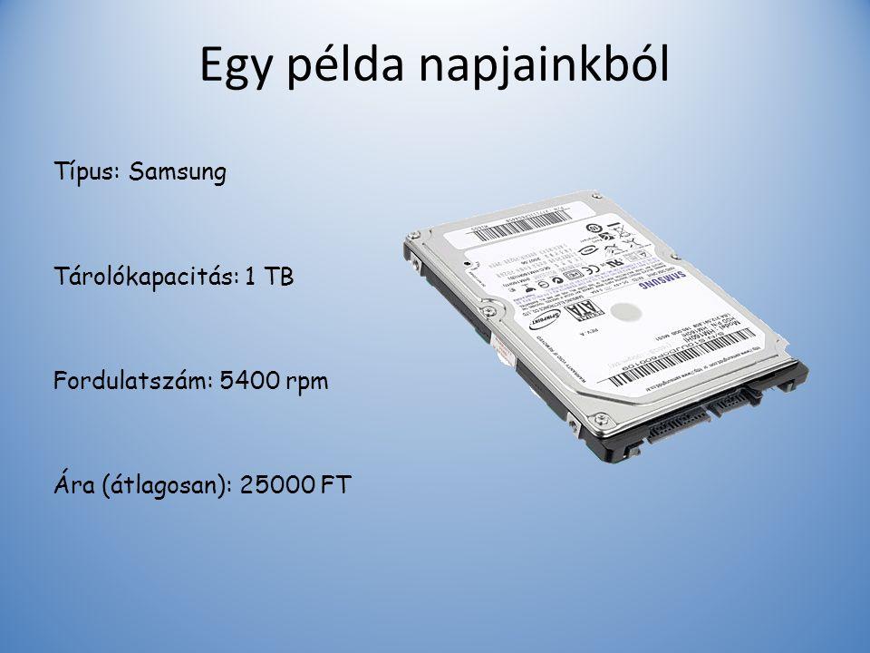 Egy példa napjainkból Típus: Samsung Tárolókapacitás: 1 TB Fordulatszám: 5400 rpm Ára (átlagosan): 25000 FT