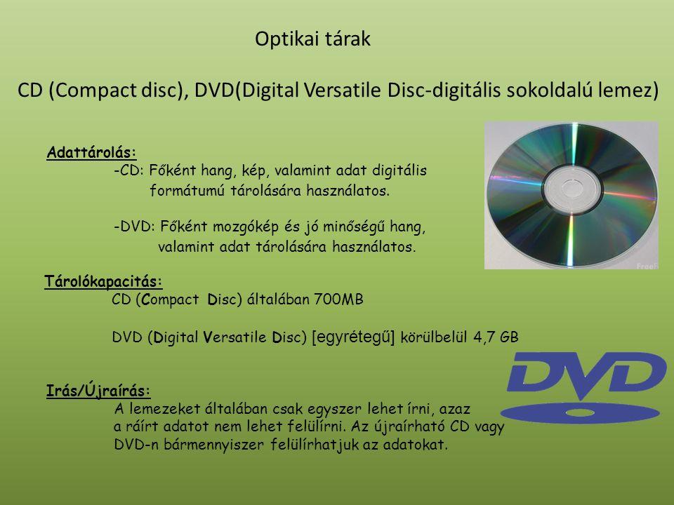 Optikai tárak A CD egy teljesen sík felületü műanyag lemez, melynek felületét fényvisszaverő réteggel vonnak be, amit egy átlátszó védőréteg fed.