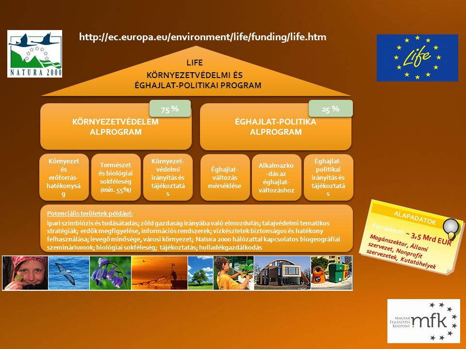 KÖRNYEZETVÉDELEM ALPROGRAM KÖRNYEZETVÉDELEM ALPROGRAM Potenciális területek például: ipari szimbiózis és tudásátadás; zöld gazdaság irányába való elmozdulás; talajvédelmi tematikus stratégiák; erdők megfigyelése, információs rendszerek; vízkészletek biztonságos és hatékony felhasználása; levegő minősége, városi környezet; Natura 2000 hálózattal kapcsolatos biogeográfiai szemináriumok; biológiai sokféleség; tájékoztatás; hulladékgazdálkodás Potenciális területek például: ipari szimbiózis és tudásátadás; zöld gazdaság irányába való elmozdulás; talajvédelmi tematikus stratégiák; erdők megfigyelése, információs rendszerek; vízkészletek biztonságos és hatékony felhasználása; levegő minősége, városi környezet; Natura 2000 hálózattal kapcsolatos biogeográfiai szemináriumok; biológiai sokféleség; tájékoztatás; hulladékgazdálkodás ÉGHAJLAT-POLITIKA ALPROGRAM ÉGHAJLAT-POLITIKA ALPROGRAM ALAPADATOK Forráskeret: ~ 3,5 Mrd EUR Magánszektor, Állami szervezet, Nonprofit szervezetek, Kutatóhelyek LIFE KÖRNYEZETVÉDELMI ÉS ÉGHAJLAT-POLITIKAI PROGRAM 75 % 25 % Környezet és erőforrás- hatékonysá g Természet és biológiai sokféleség (min.