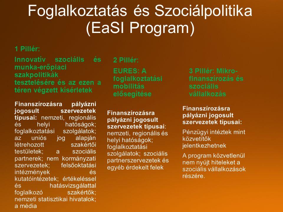 Foglalkoztatás és Szociálpolitika (EaSI Program) 2 Pillér: EURES: A foglalkoztatási mobilitás elősegítése 3 Pillér: Mikro- finanszírozás és szociális vállalkozás