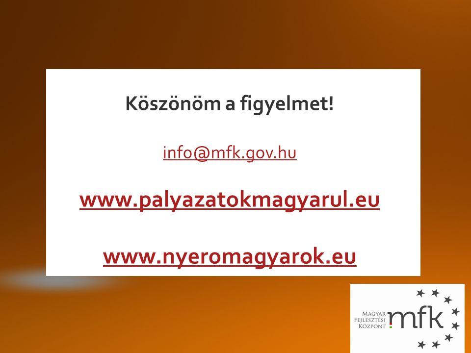 Köszönöm a figyelmet! info@mfk.gov.hu www.palyazatokmagyarul.eu www.nyeromagyarok.eu