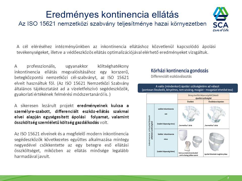 Az ISO 15621 elveinek alkalmazásával a pelenkacsere/hulladék mutató 34%, a összesített környezetterhelési index pedig 52%-os javulást mutatott.