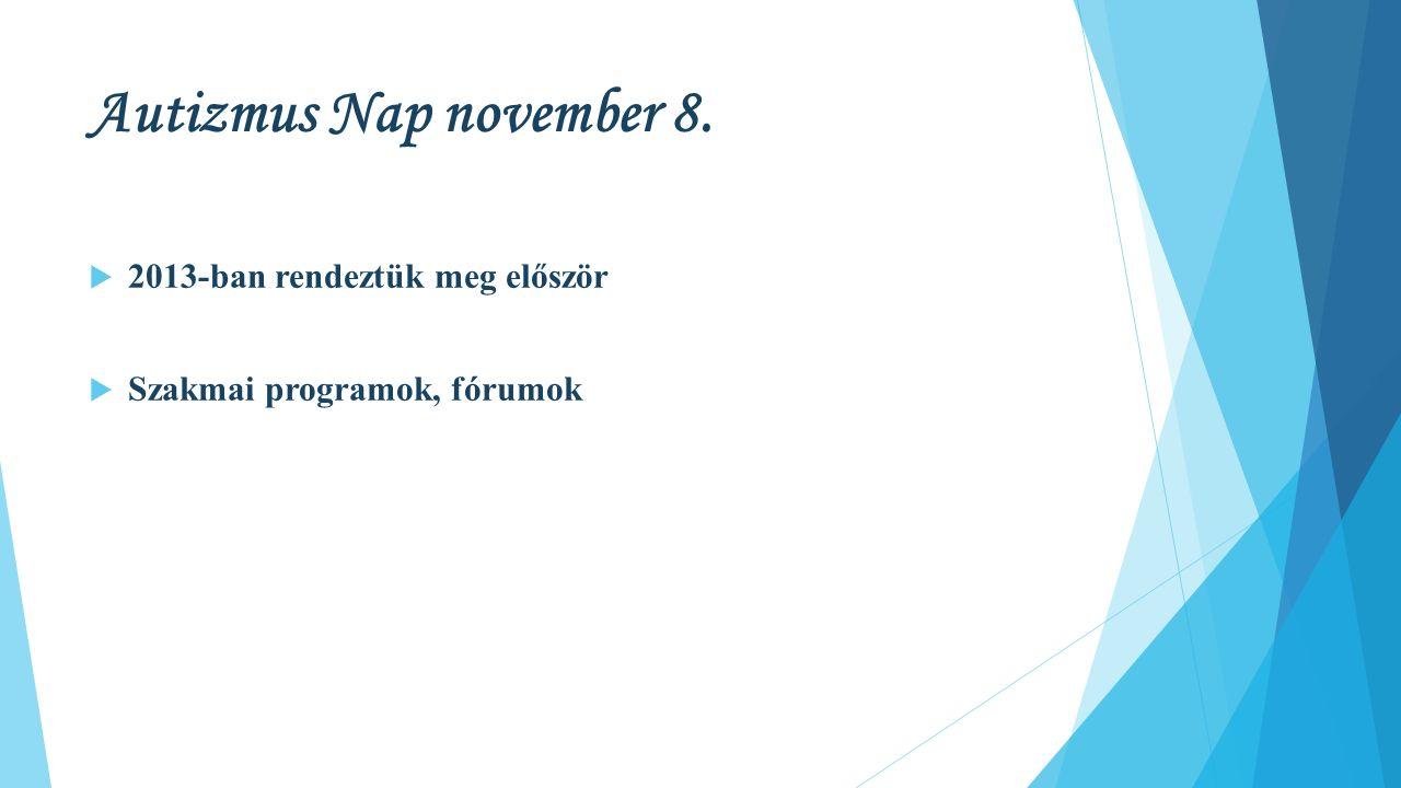 Autizmus Nap november 8.  2013-ban rendeztük meg először  Szakmai programok, fórumok