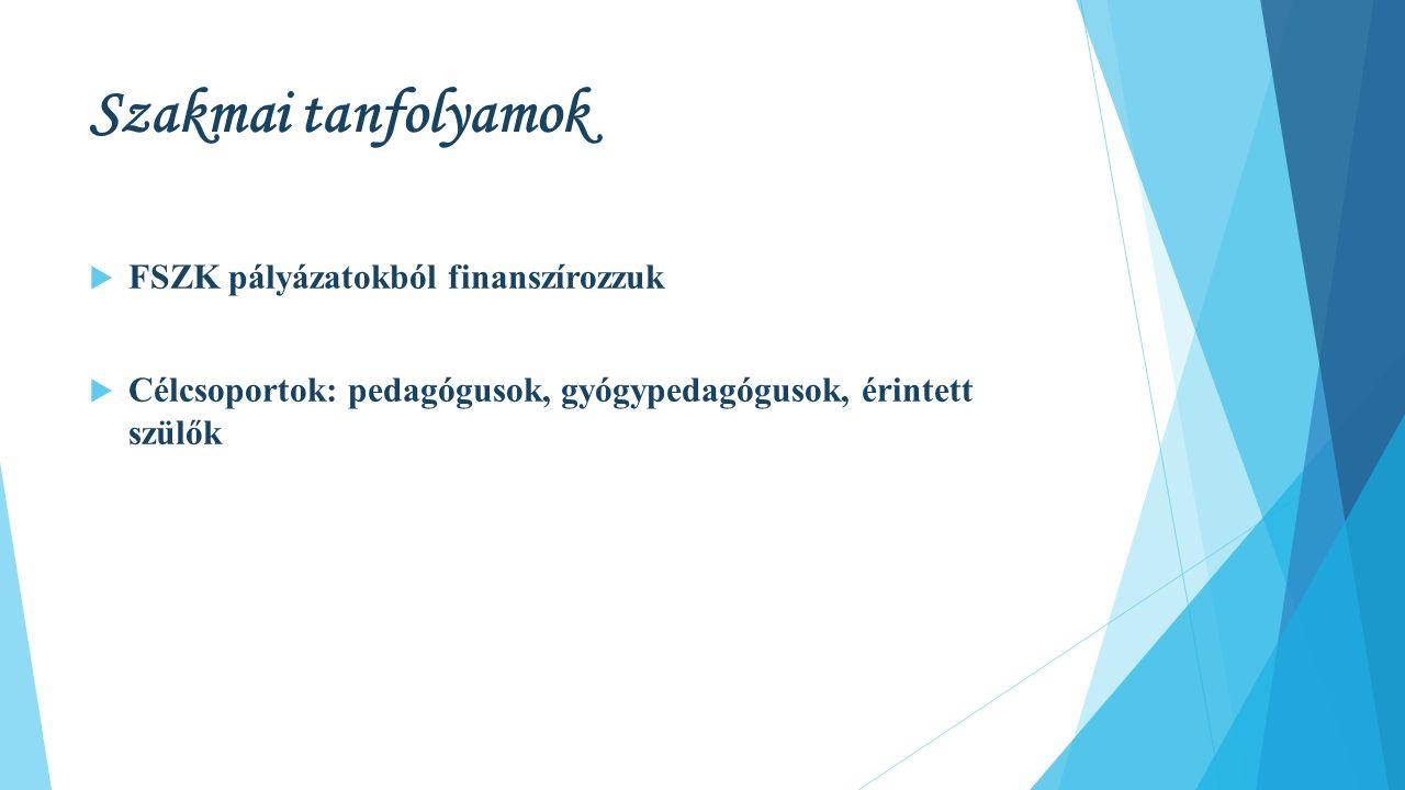 Szakmai tanfolyamok  FSZK pályázatokból finanszírozzuk  Célcsoportok: pedagógusok, gyógypedagógusok, érintett szülők