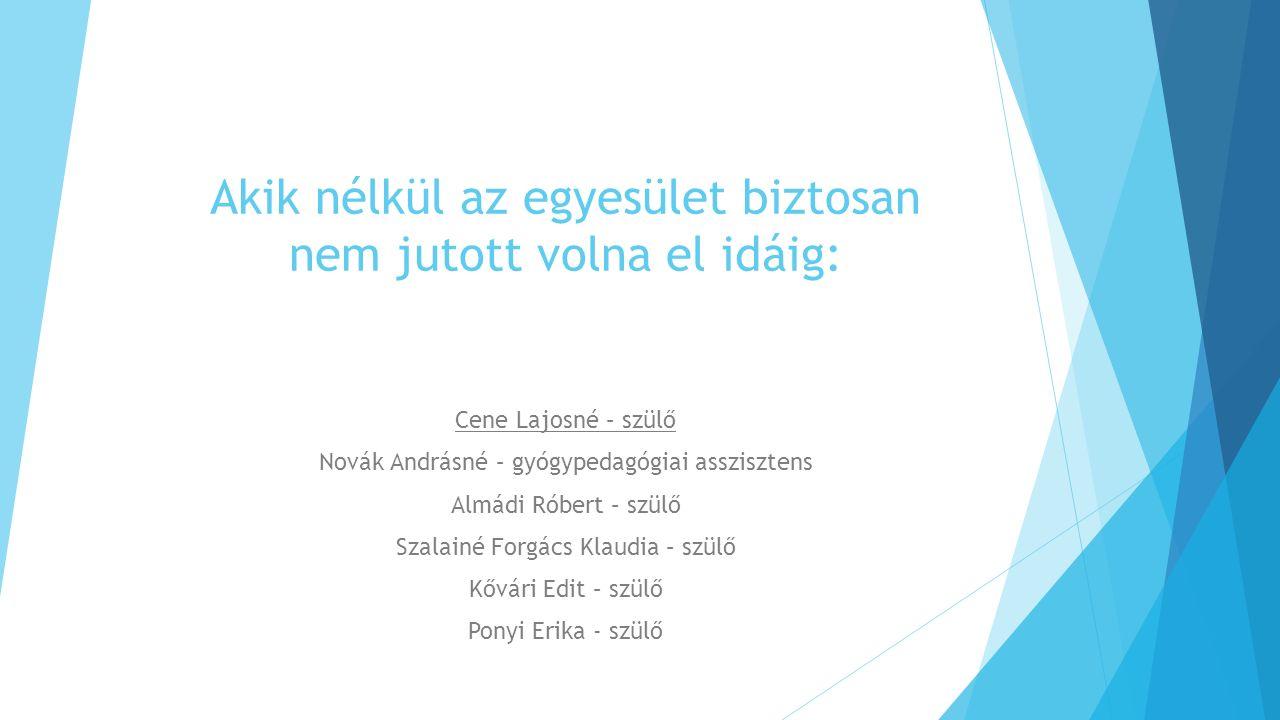 Akik nélkül az egyesület biztosan nem jutott volna el idáig: Cene Lajosné – szülő Novák Andrásné – gyógypedagógiai asszisztens Almádi Róbert – szülő S