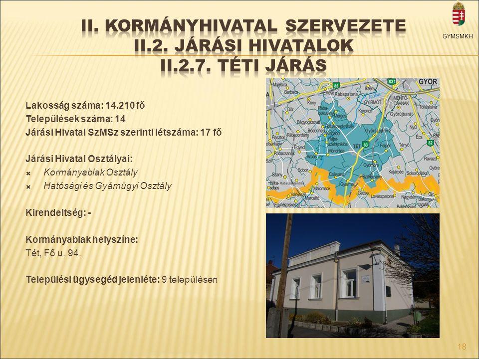 Lakosság száma: 14.210 fő Települések száma: 14 Járási Hivatal SzMSz szerinti létszáma: 17 fő Járási Hivatal Osztályai:  Kormányablak Osztály  Hatós