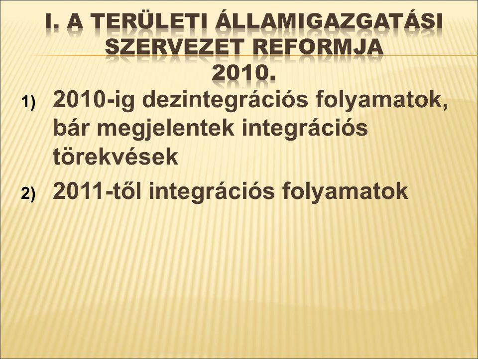 1) 2010-ig dezintegrációs folyamatok, bár megjelentek integrációs törekvések 2) 2011-től integrációs folyamatok