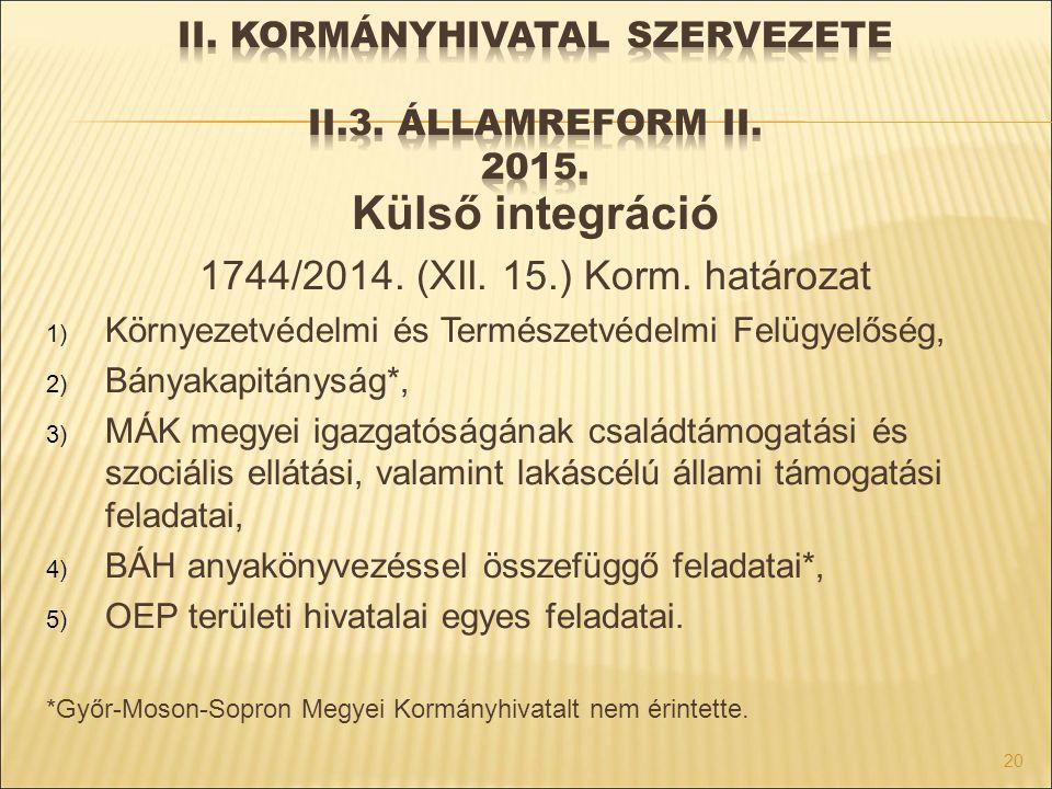 Külső integráció 1744/2014. (XII. 15.) Korm. határozat 1) Környezetvédelmi és Természetvédelmi Felügyelőség, 2) Bányakapitányság*, 3) MÁK megyei igazg
