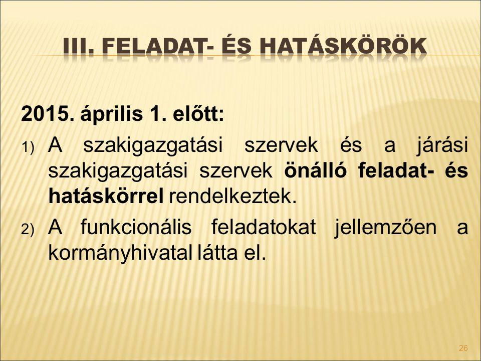 2015. április 1. előtt: 1) A szakigazgatási szervek és a járási szakigazgatási szervek önálló feladat- és hatáskörrel rendelkeztek. 2) A funkcionális