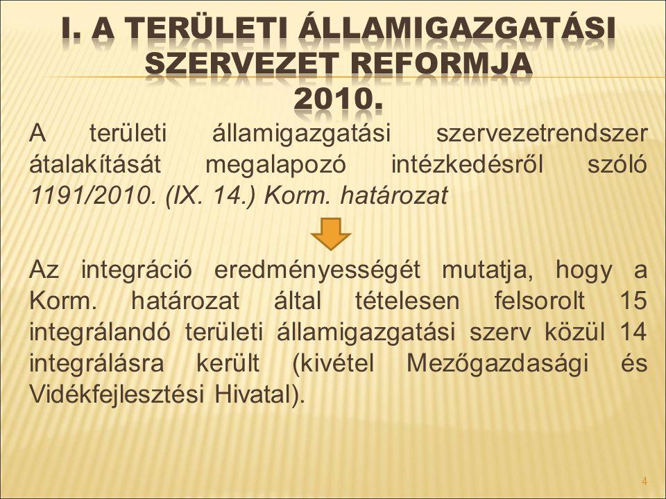 A területi államigazgatási szervezetrendszer átalakítását megalapozó intézkedésről szóló 1191/2010. (IX. 14.) Korm. határozat Az integráció eredményes