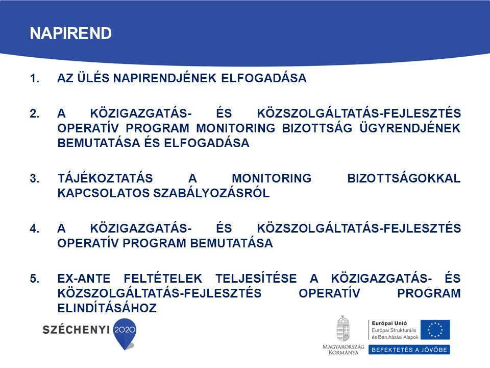 A KÖFOP Monitoring Bizottság összetétele  KÖFOP MB összetétele: 31 delegált szervezet, ebből: - 26 szavazati jogú tag - 5 tanácskozási jogú tag  A delegált szervezeteket és a tagok névsorát az ügyrend XII.