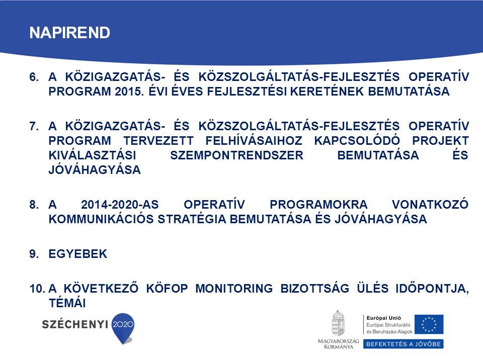 A Monitoring Bizottság feladatai (5) A Kormány 272/2014.