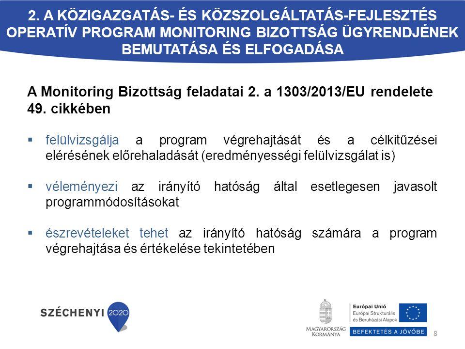 Az MB tagok kötelezettségei (2) A releváns és hatályos ország-specifikus ajánlások teljesülésének nyomon követése Az operatív program szempontjából releváns ex-ante feltételek teljesülésének nyomon követése A monitoring bizottságon megkapott információk továbbadása a tag által képviselt szervezetnek A nemkívánatos érdekérvényesítés és befolyásolás tilalma, és ezzel kapcsolatos összeférhetetlenség haladéktalan bejelentése A monitoring bizottság ügyrendjének betartása Összeférhetetlenségre vonatkozó kötelezettségek megismerése 3.